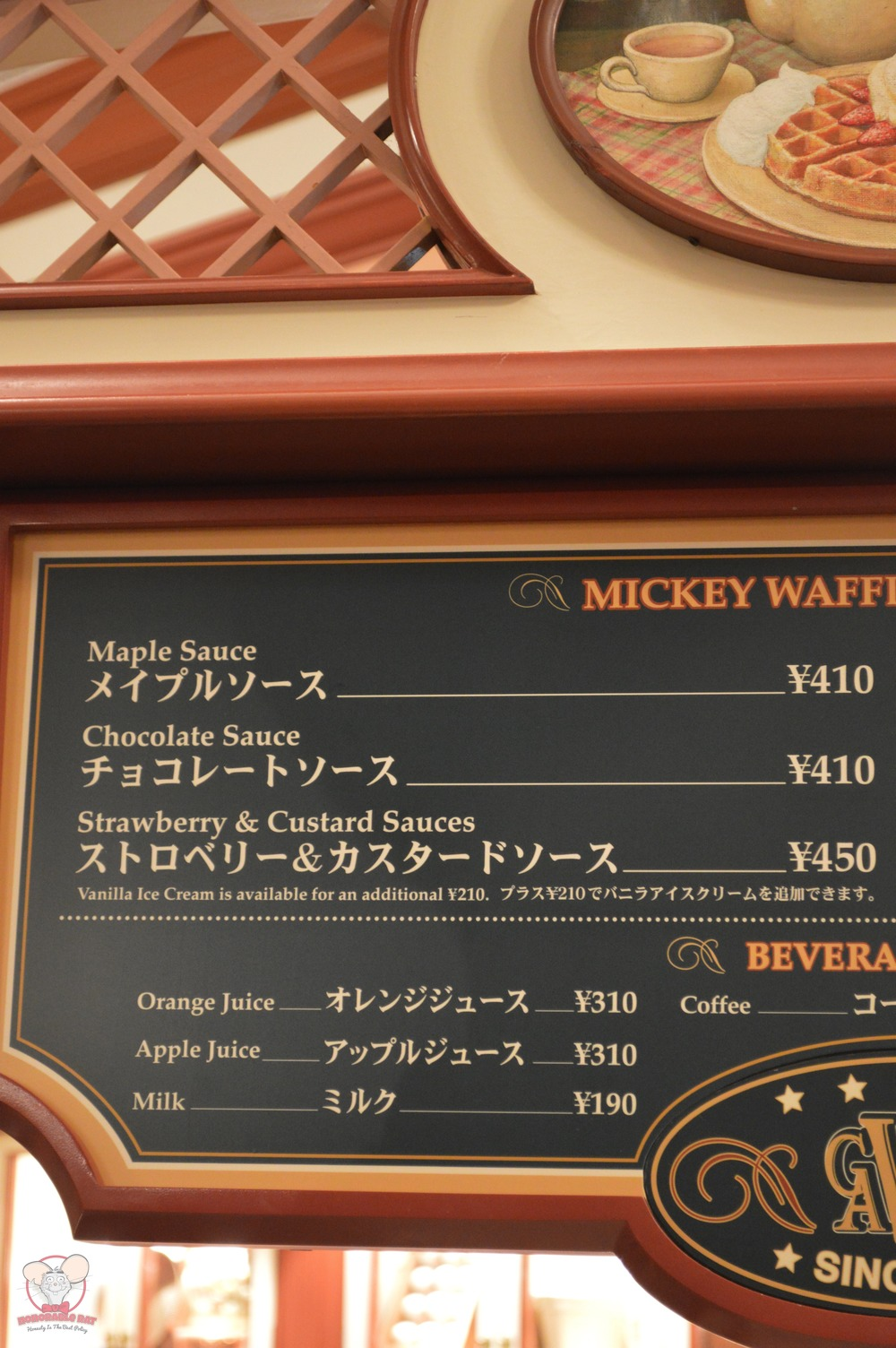 Mickey Waffles Menu