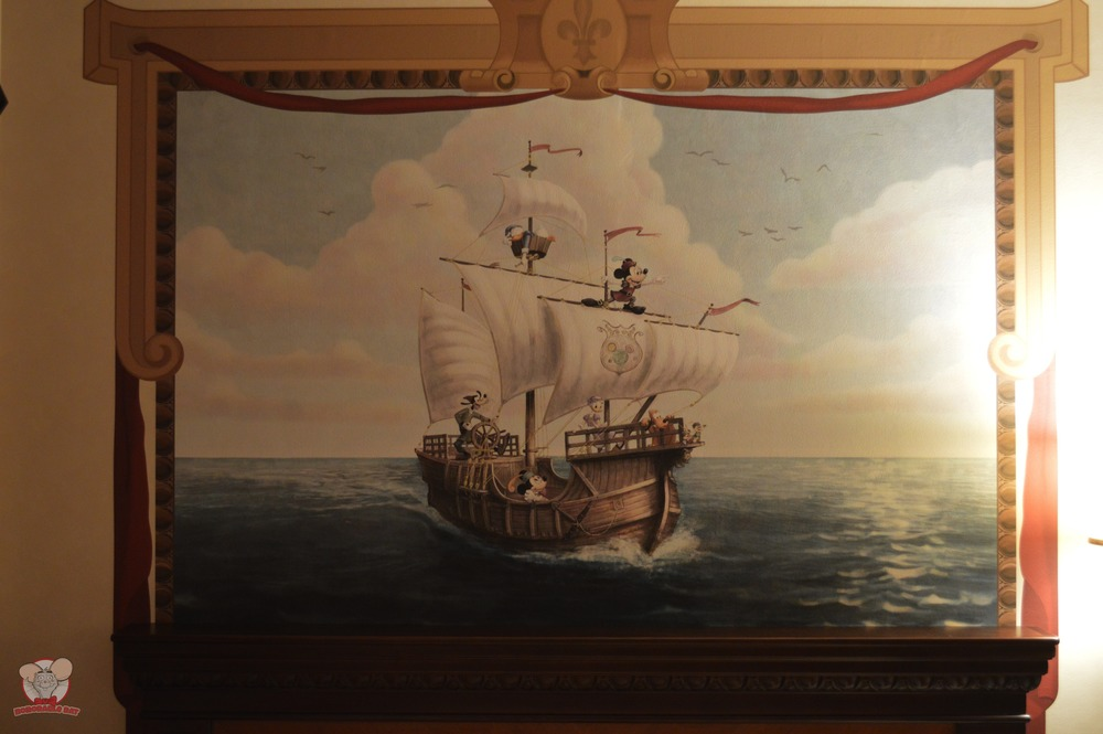 Mural of Mickey Captaining a Ship