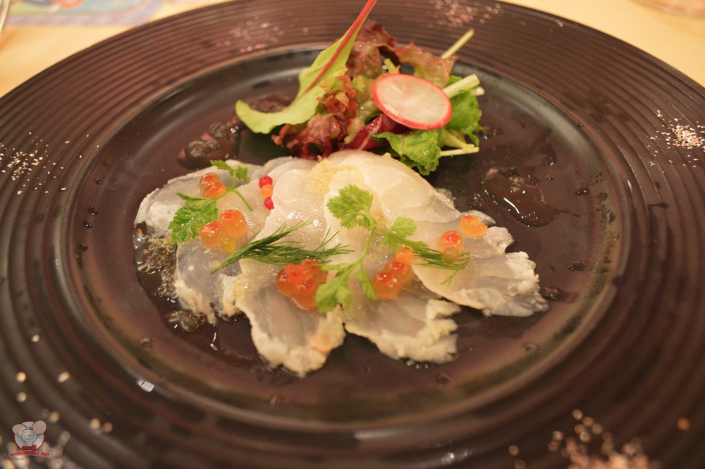 Sea Bream Carpaccio with Flying Fish Roe and Lime Dressing