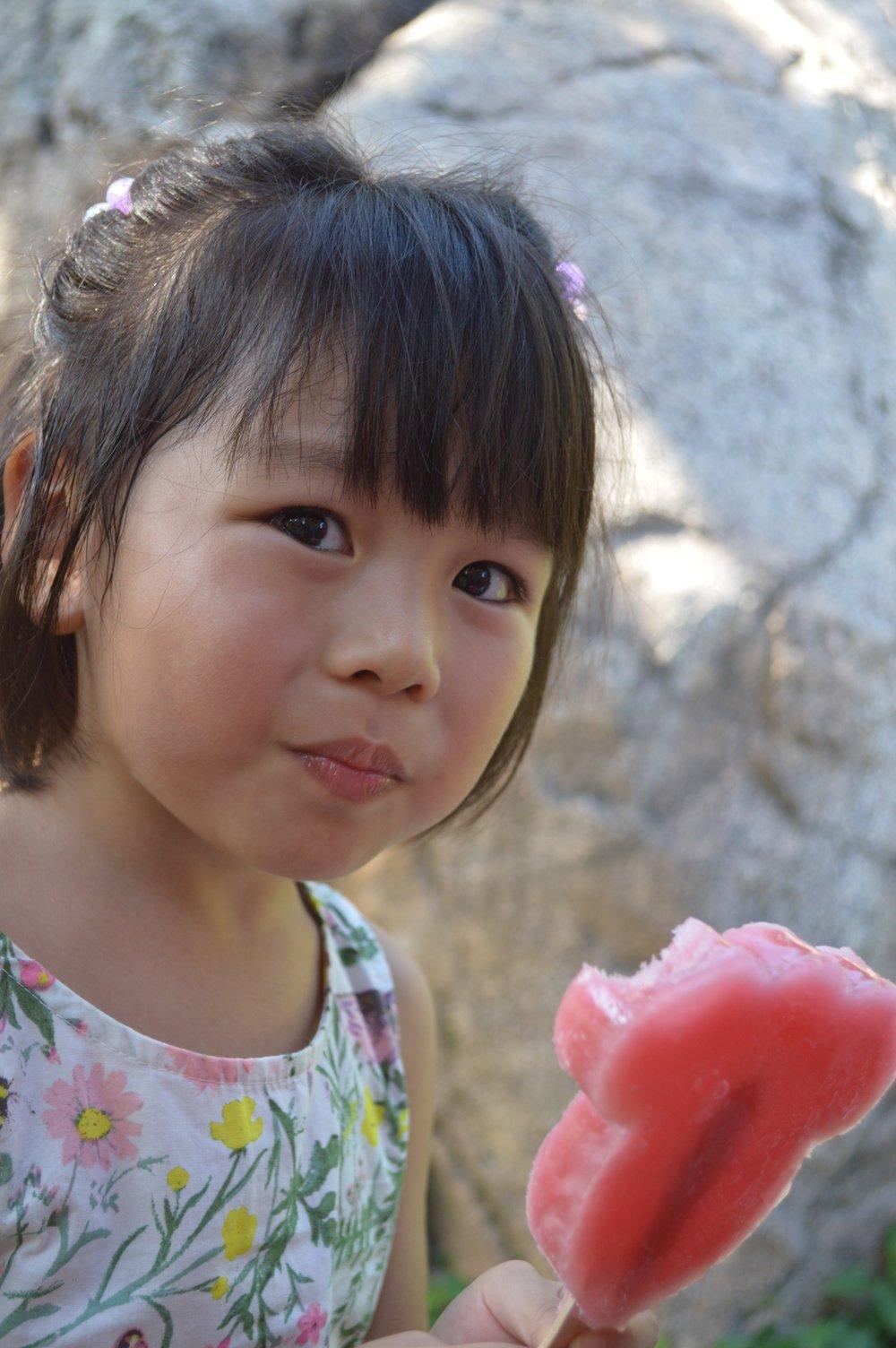 Little Mahina with her Minnie Ice Bar