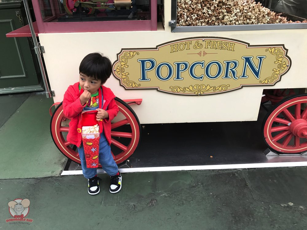 Baby Haku posing in front of the Milk Chocolate popcorn cart
