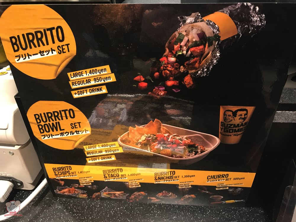 Burrito Set (Large 1,400 yen, Regular 950 yen), Burrito Bowl Set (Large 1,400 yen, Regular 950 yen), Burrito & Chips Set (1,450 yen), Burrito & Tacos Set (1,400 yen), Burrito & Nachos Set (1,350 yen) and Churro Set (500 yen)