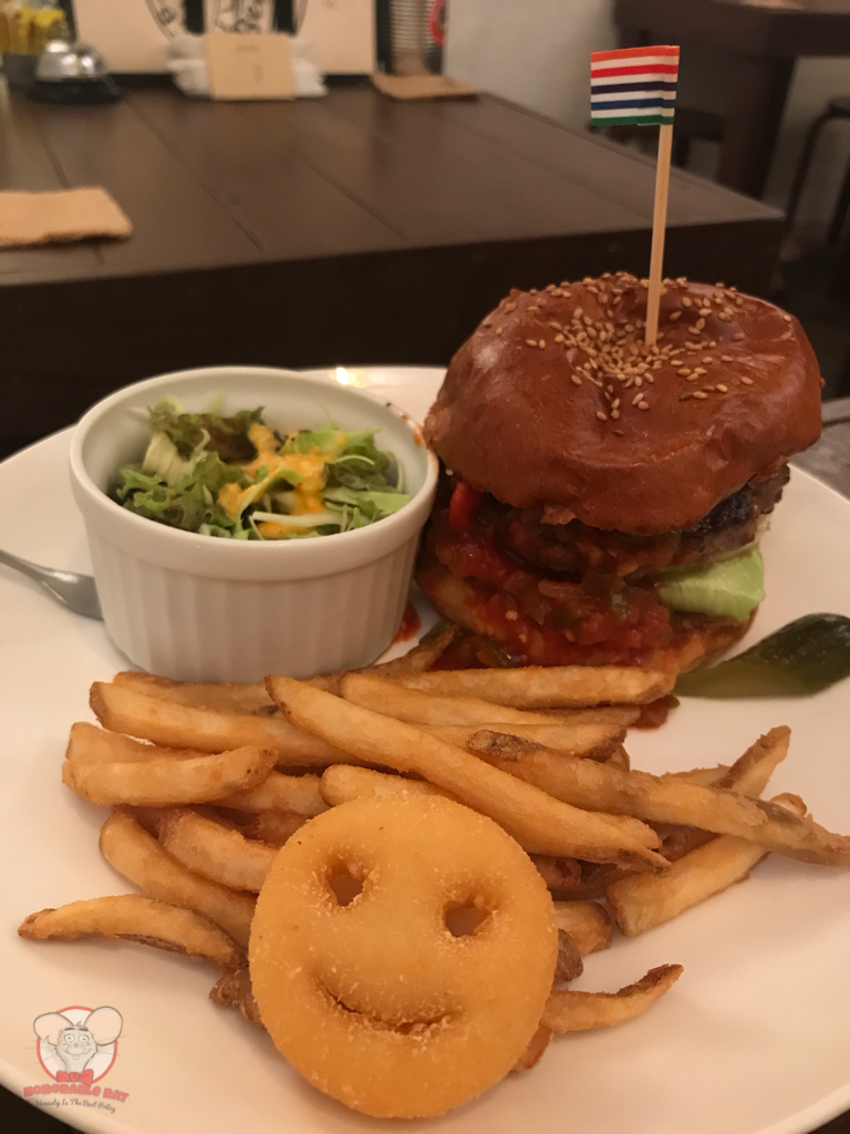 Every burger comes with fries, small salad and a smiley potato face
