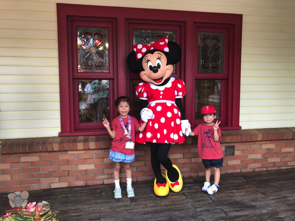 The kids with Minnie Mouse
