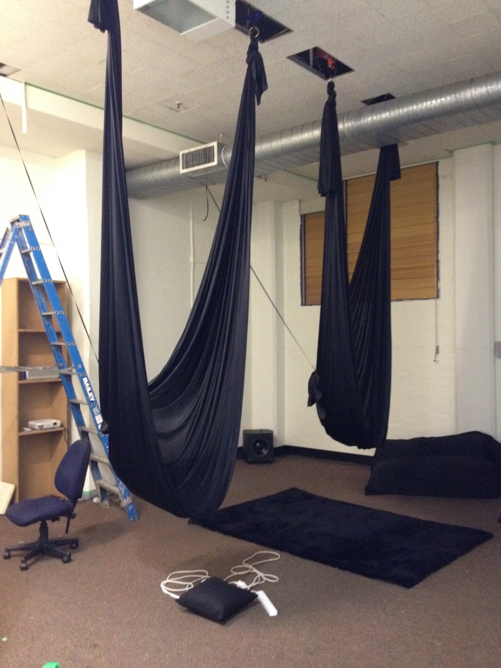 Testing ceiling-based rig for 'GovHack' in July 2015