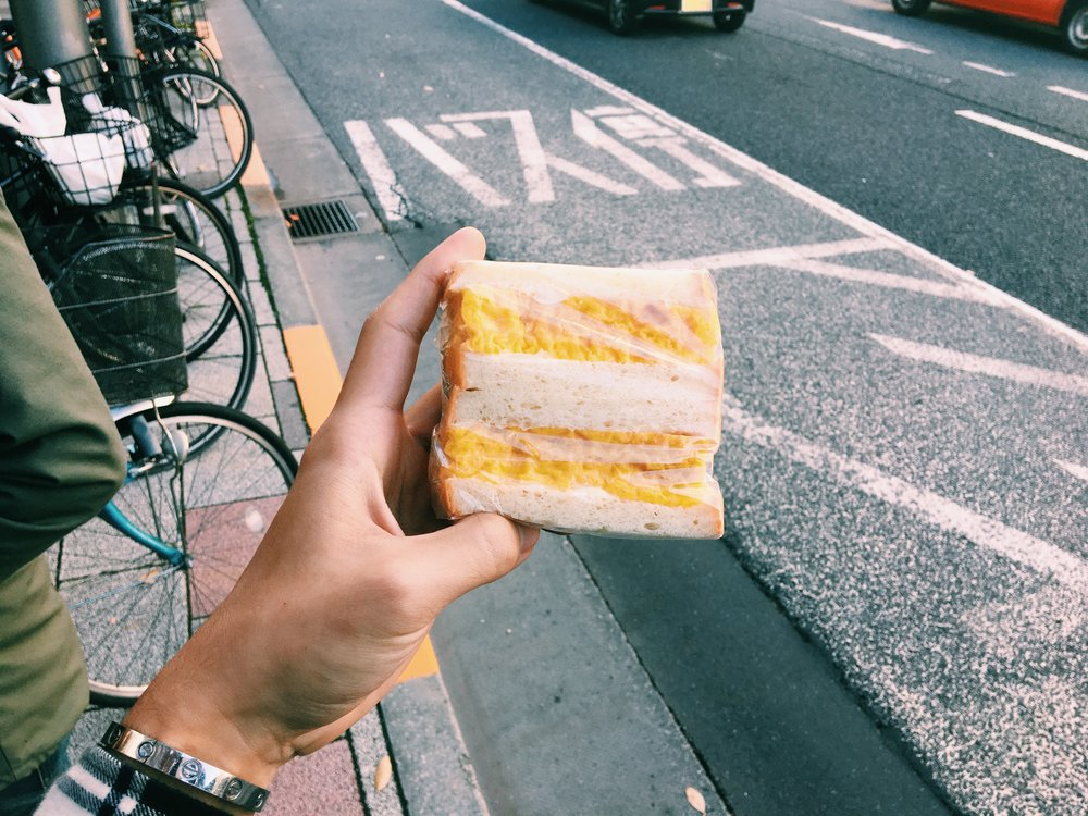 Random egg sandwich joint just right outside Tsukiji fish market. It's easy to spot and it tasted pretty dope.