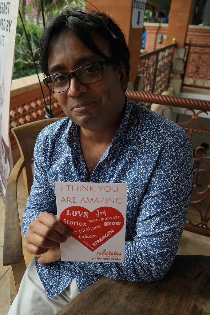 Zia Haider Rahman, author of debut breakout hit 'In the Light of What We Know' poses for a fan. Credit:  Aulia Halimatussadiah