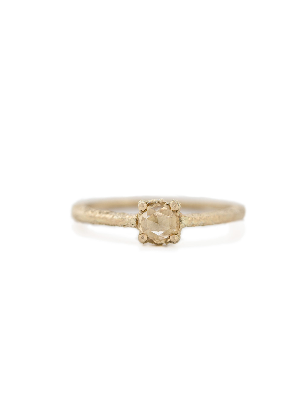 Rose cut yellow diamond ring in yellow gold