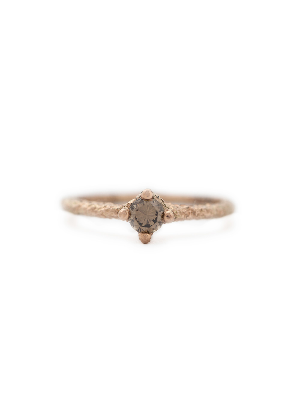Cognac diamond ring in rose gold