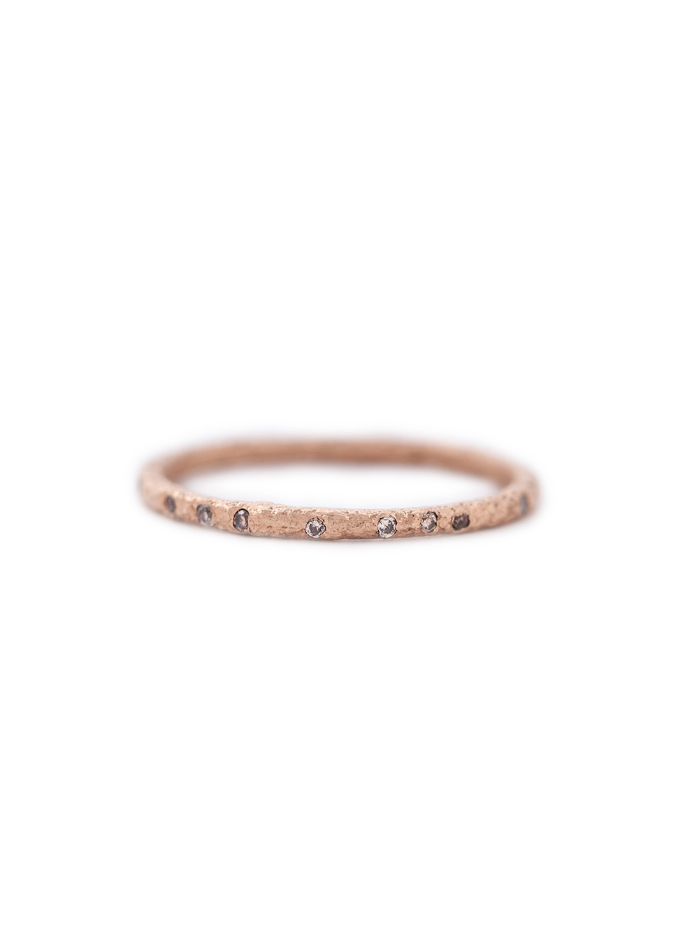 Rose gold ring with 16 champagne diamonds