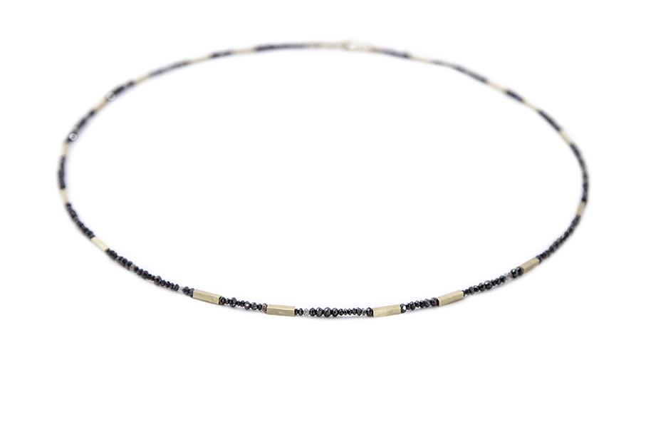 Black, mink &champagne diamond necklace,£1760