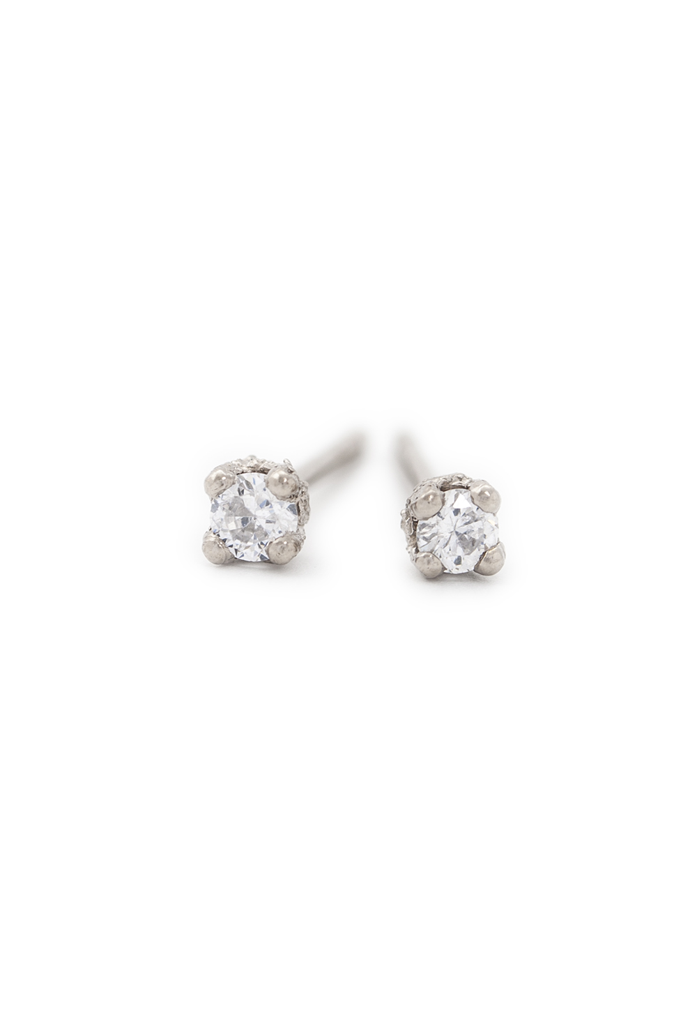 Brilliant cut white diamond studs in white gold