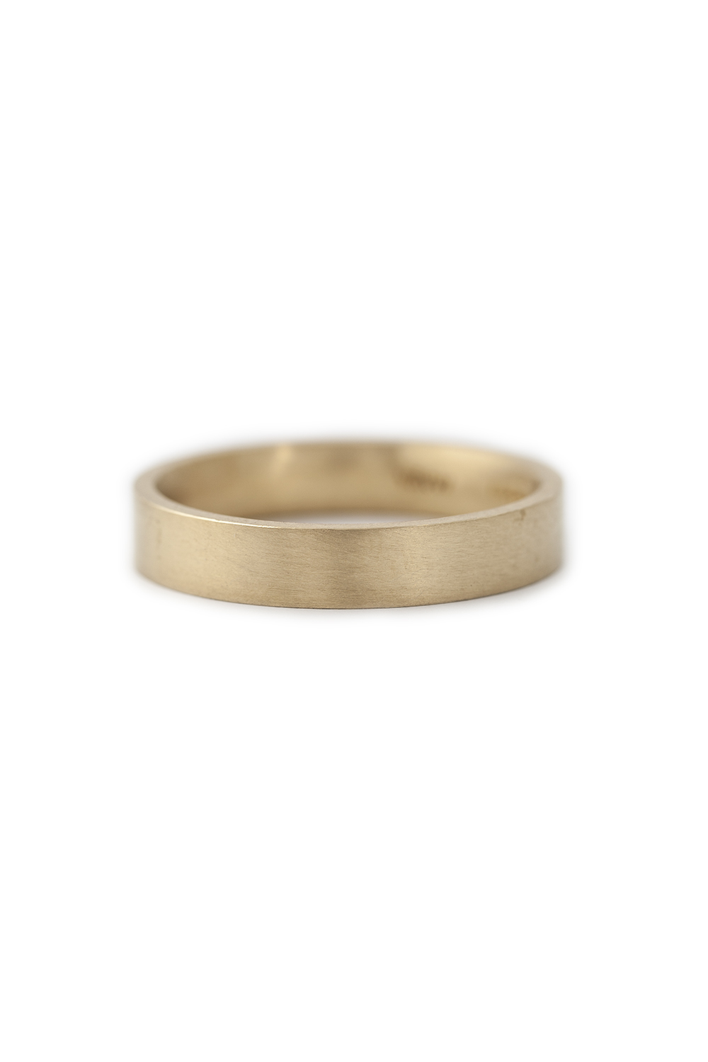 Yellow gold wide band with flat edge