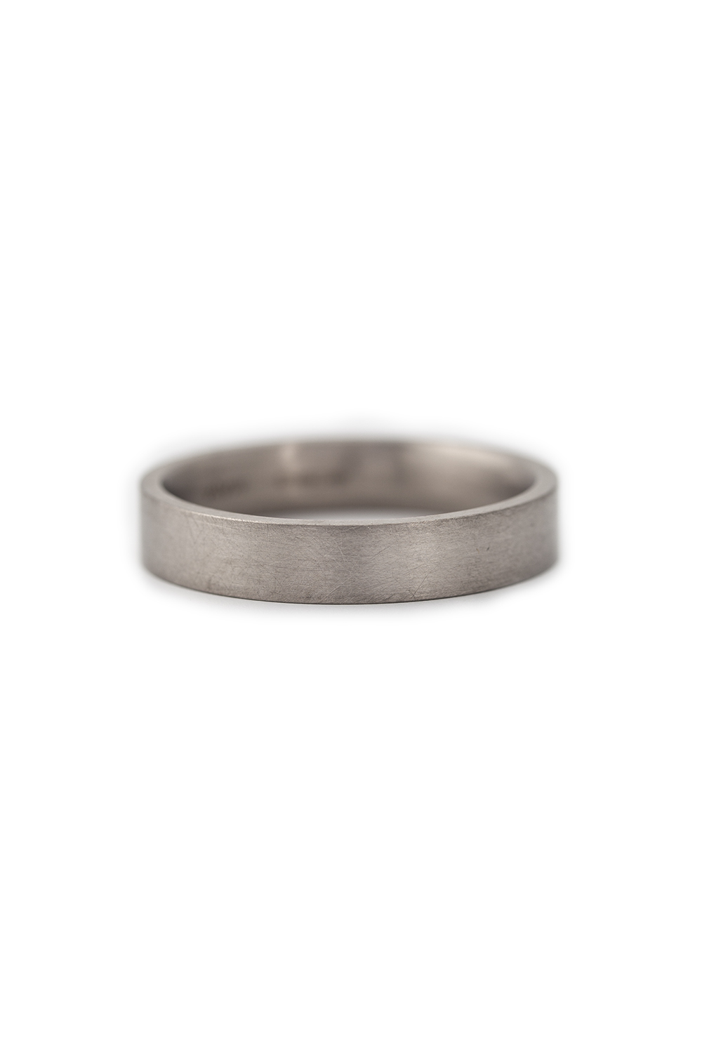 White gold wide band with flat edge