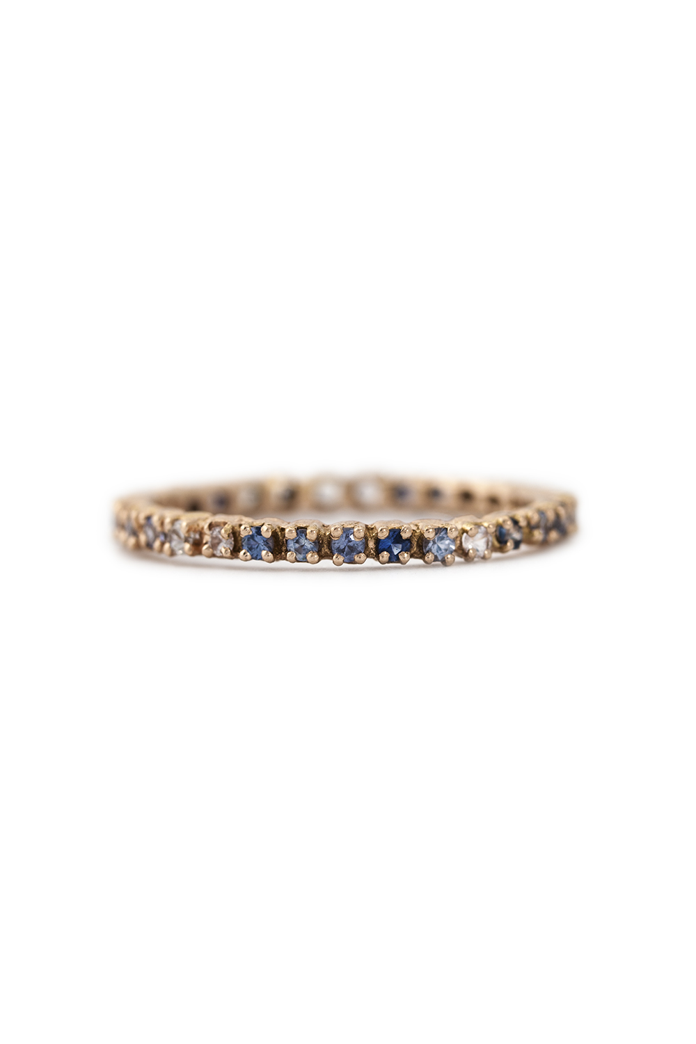 Multi coloured sapphire eternity ring in rose gold