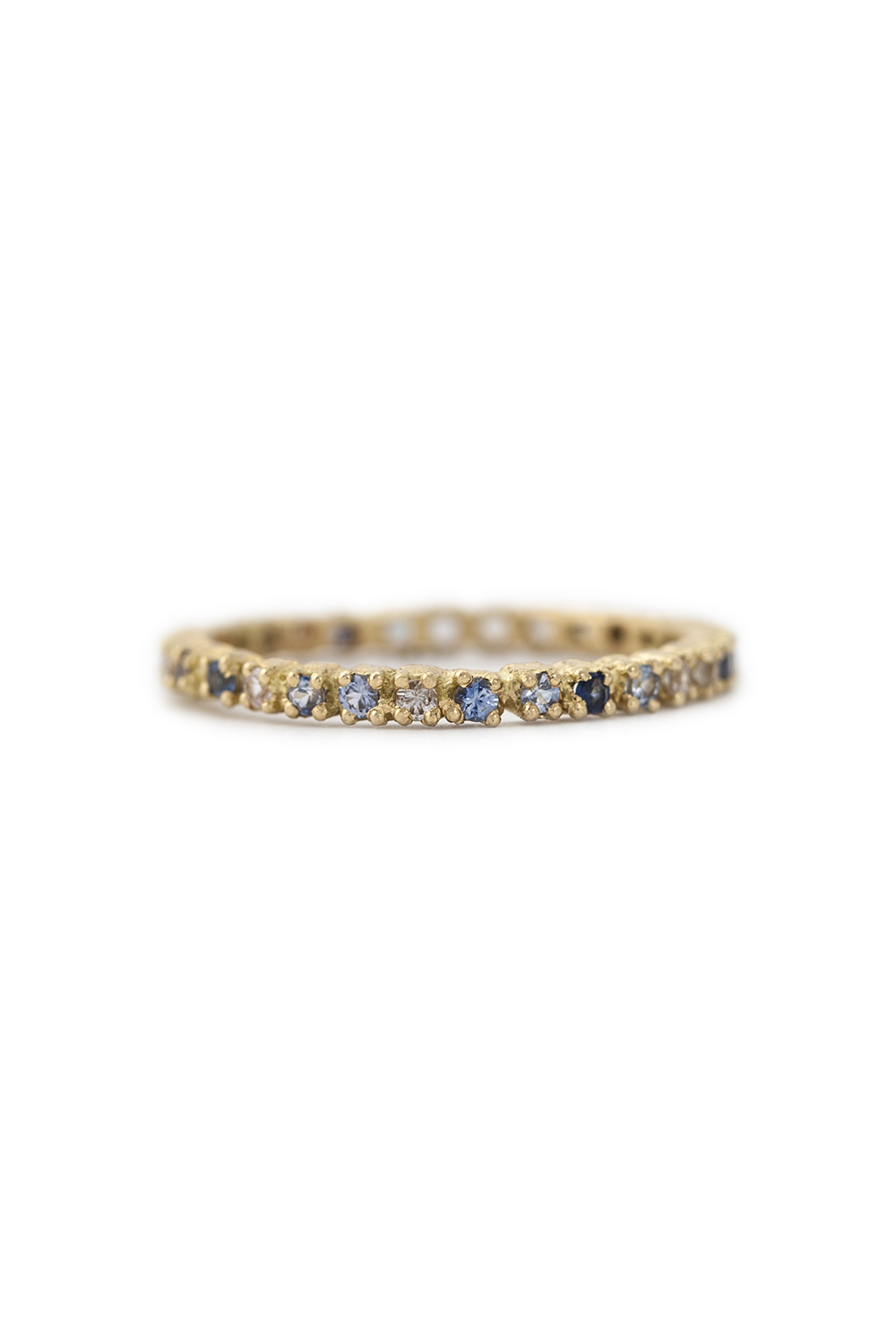 Multi coloured sapphire eternity ring in gold