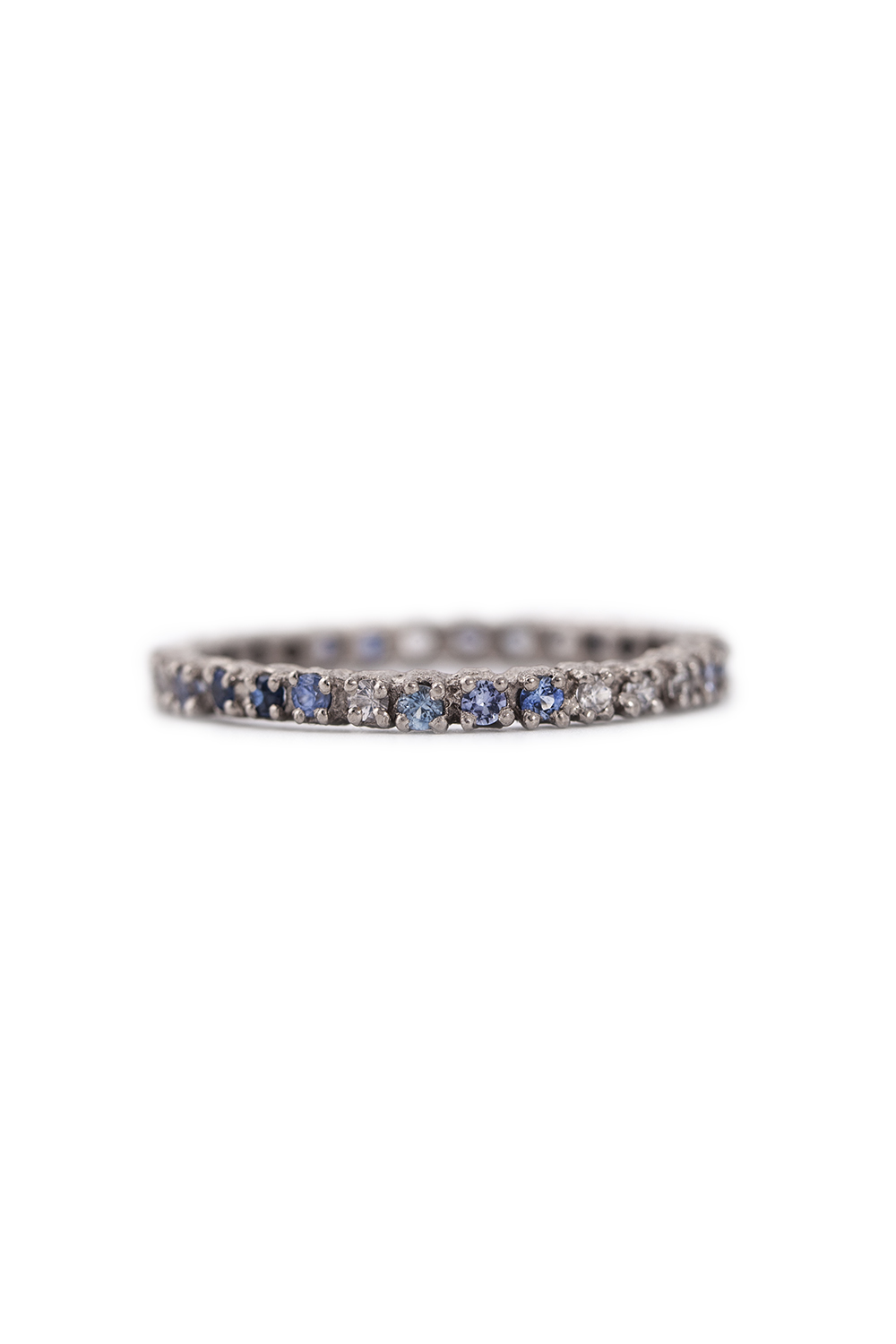 Multi coloured sapphire eternity ring in white gold