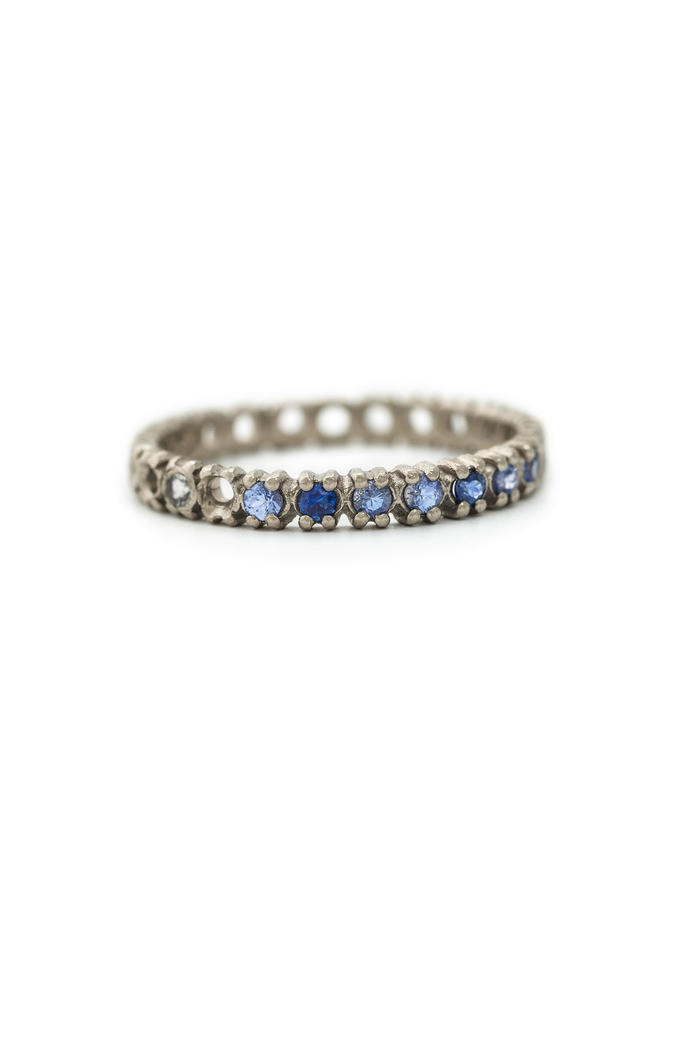 Multi coloured half eternity ring in white gold, £1540