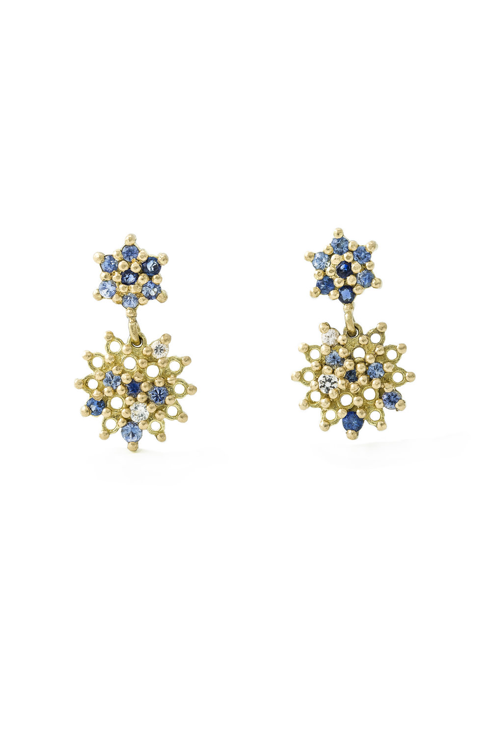 Multi coloured sapphire star drops in yellow gold