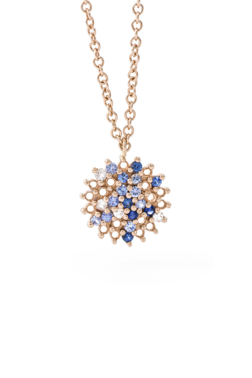 Multi coloured sapphire star pendant in rose gold