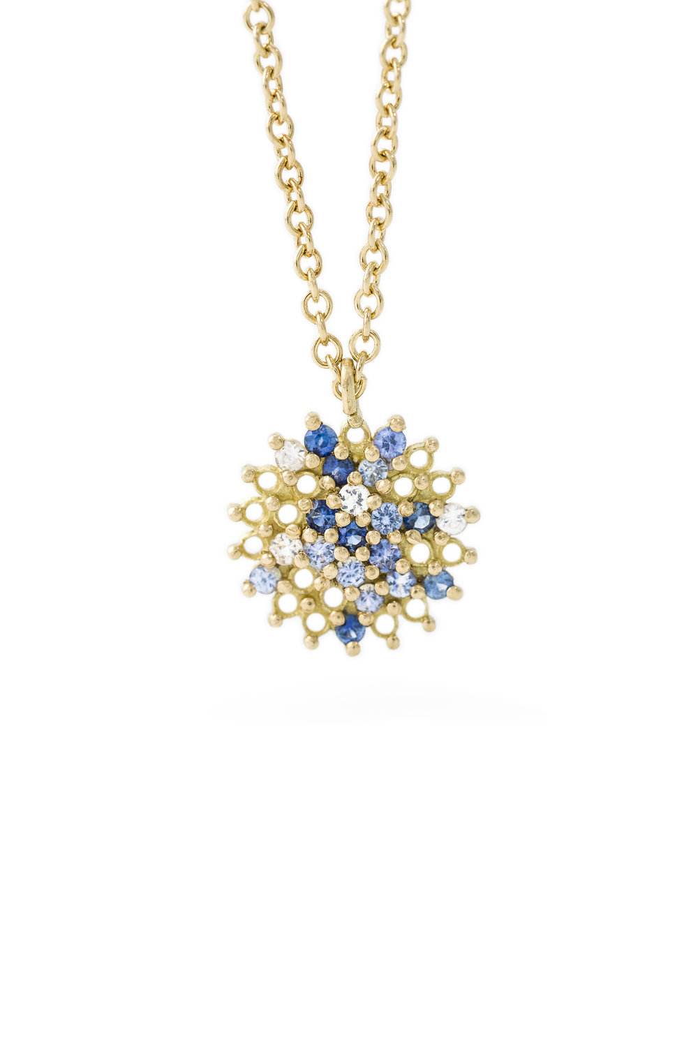Multi coloured sapphire star pendant in yellow gold