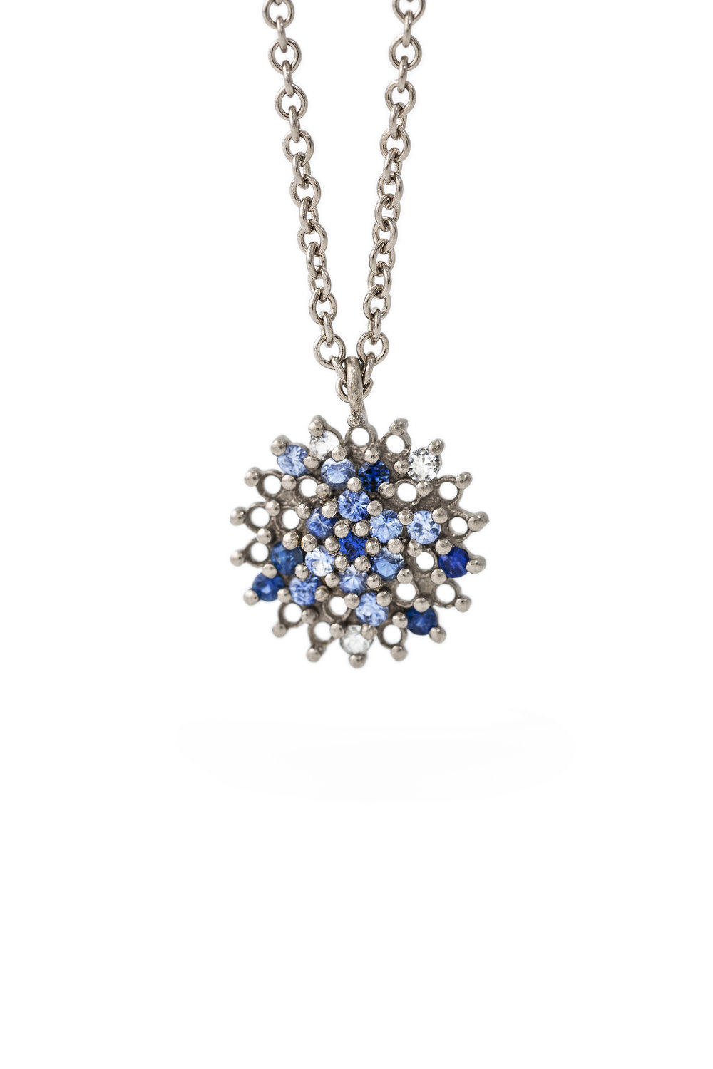 Multi coloured sapphire star pendant in white gold, £2640