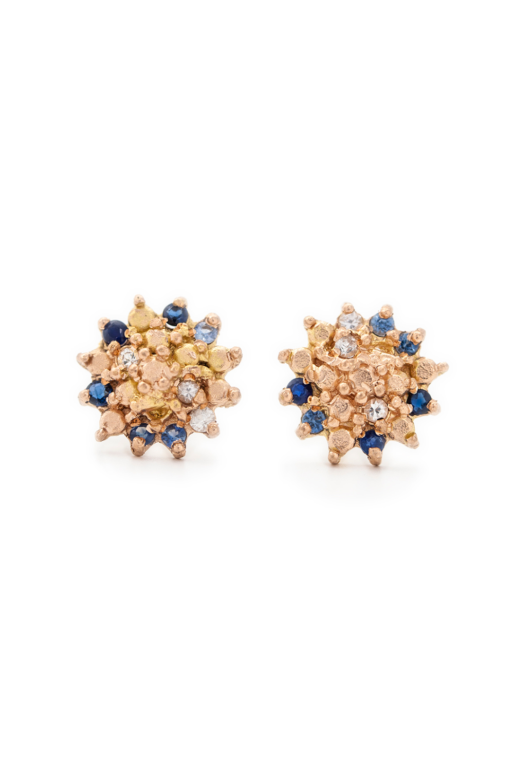 Multi coloured sapphire star studs in rose gold