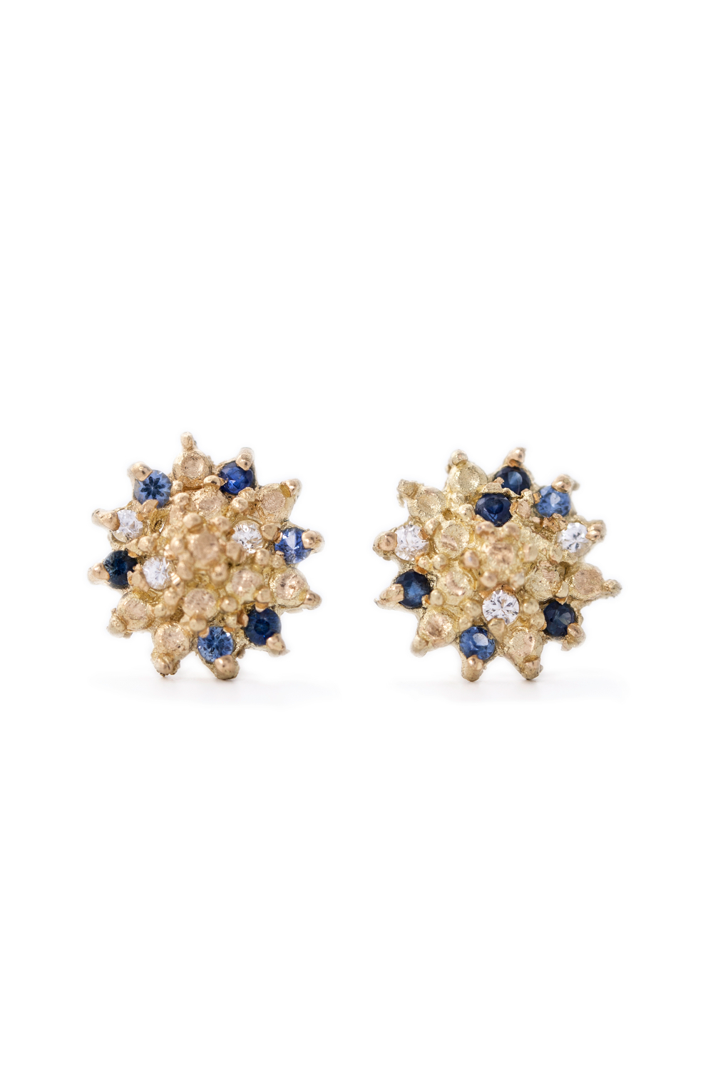 Multi coloured sapphire star studs in yellow gold