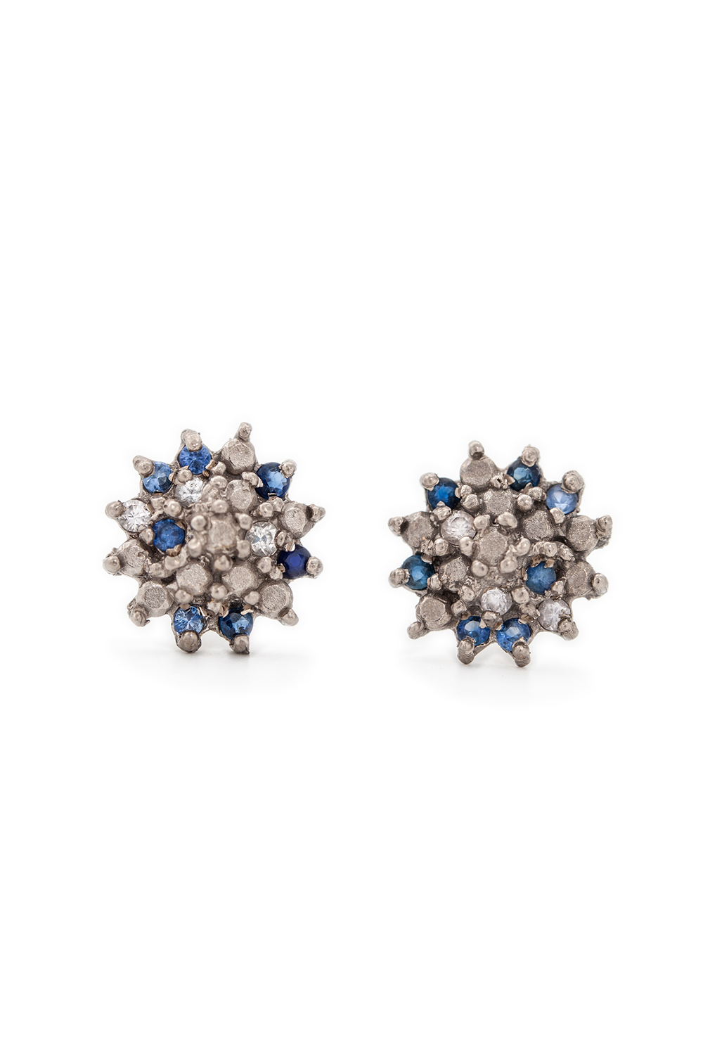 Multi coloured sapphire star studs in white gold
