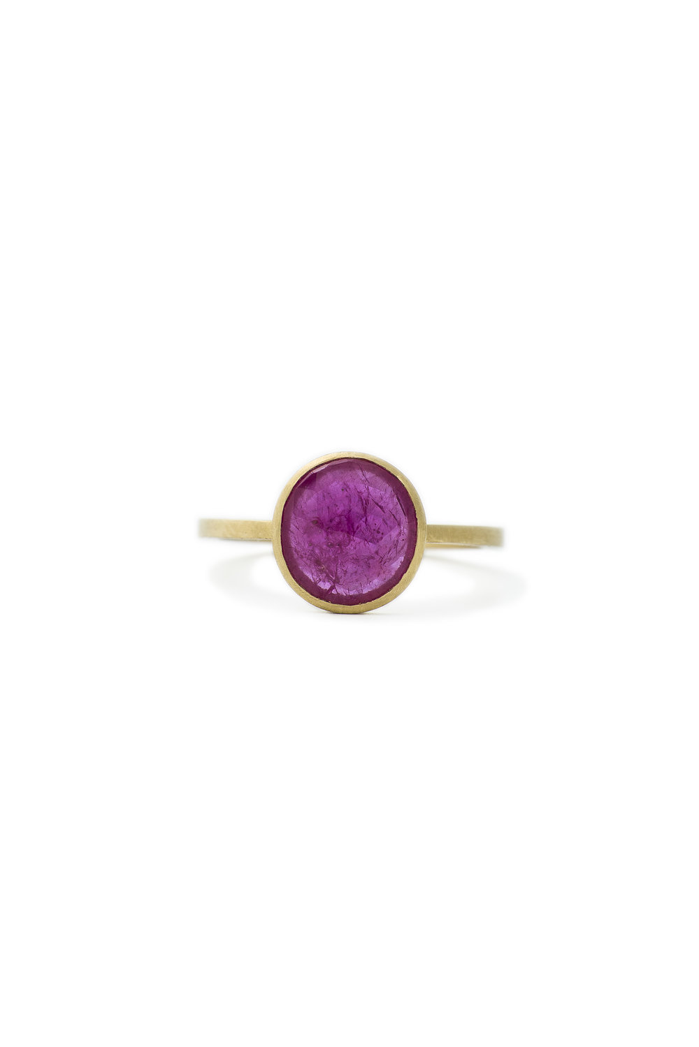 Rose cut ruby slice ring in yellow gold, £1620