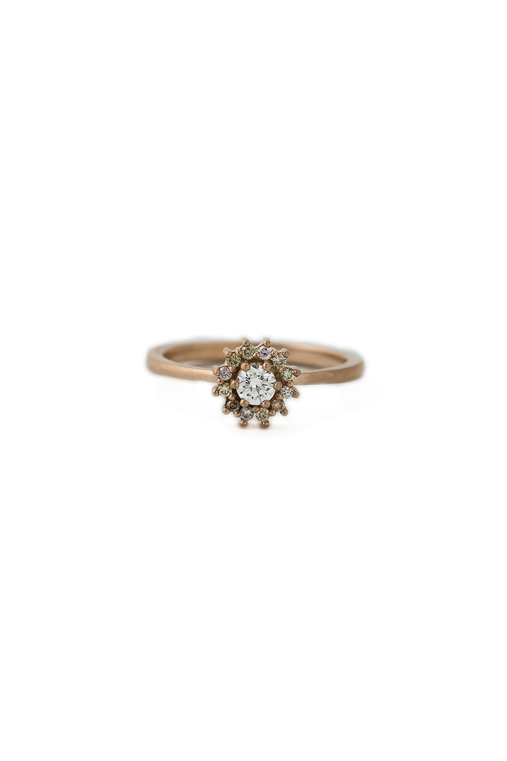 Multi coloured diamond halo ring in rose gold, £2900