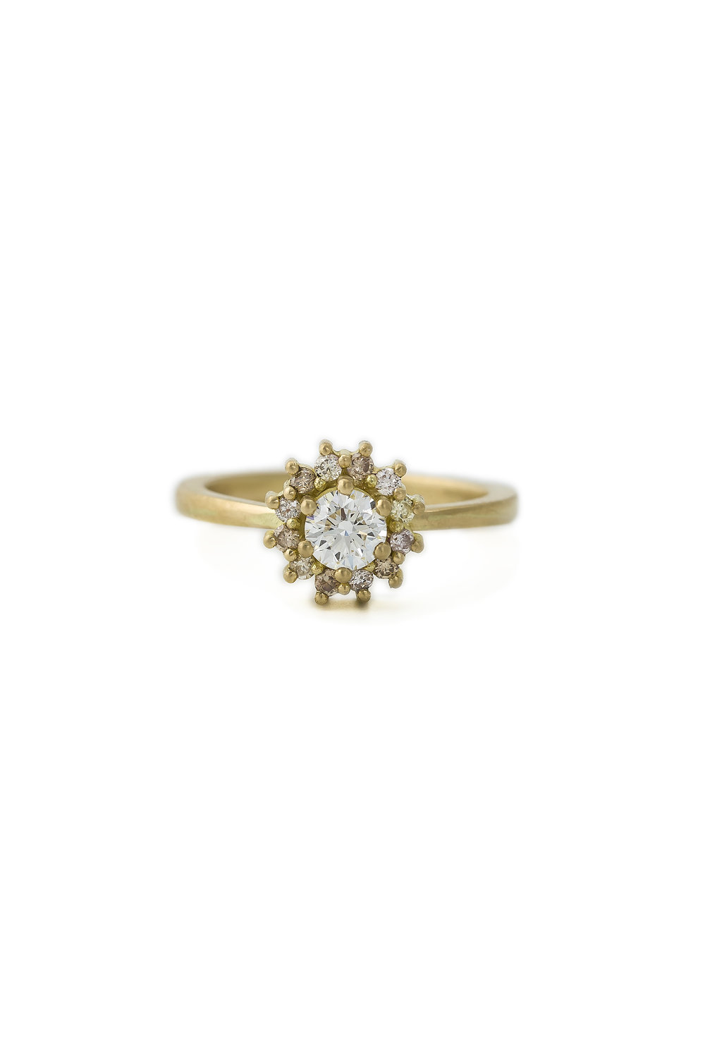 Multi coloured diamond halo ring in yellow gold