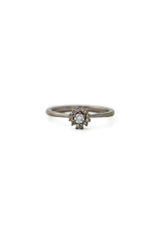 Multi coloured diamond halo ring in white gold