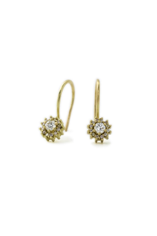 Multi coloured diamond halo earrings in gold