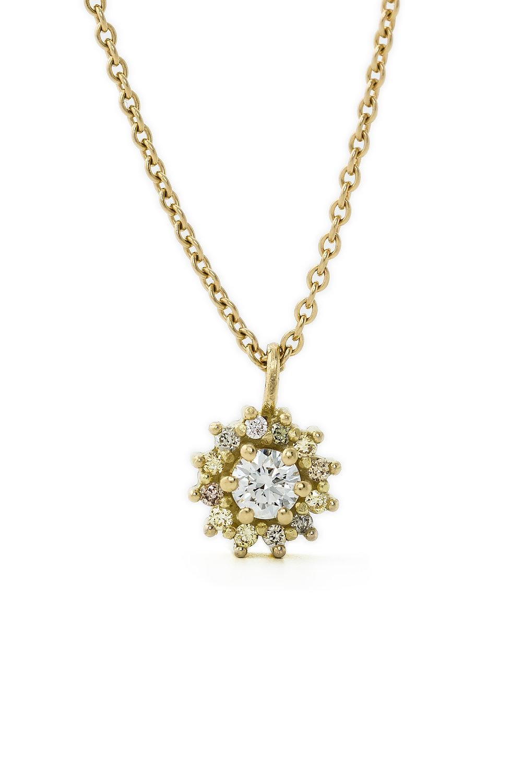 Multi coloured diamond halo pendant in gold