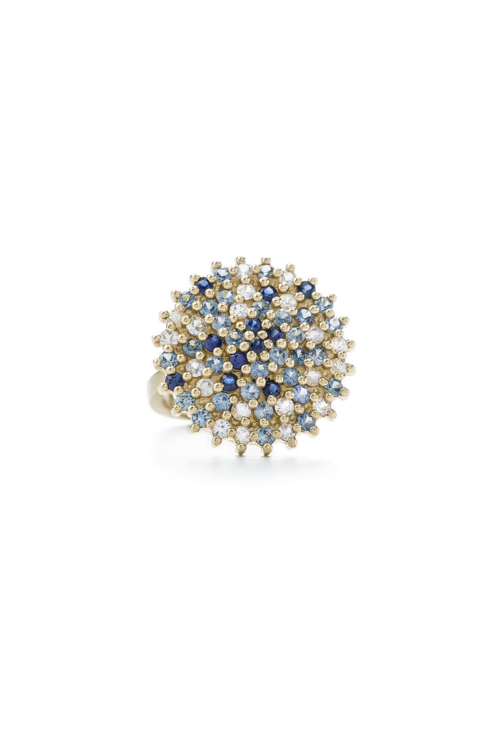 Multi coloured sapphire star cocktail ring in gold