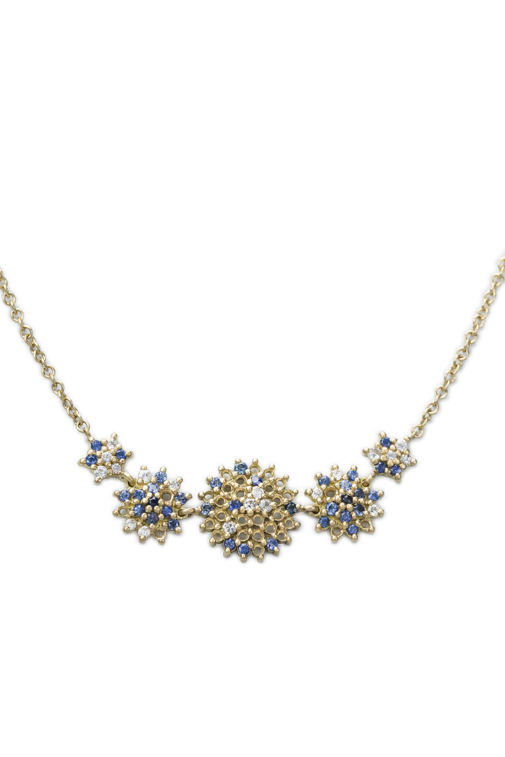 Multi coloured sapphire star five piece necklace