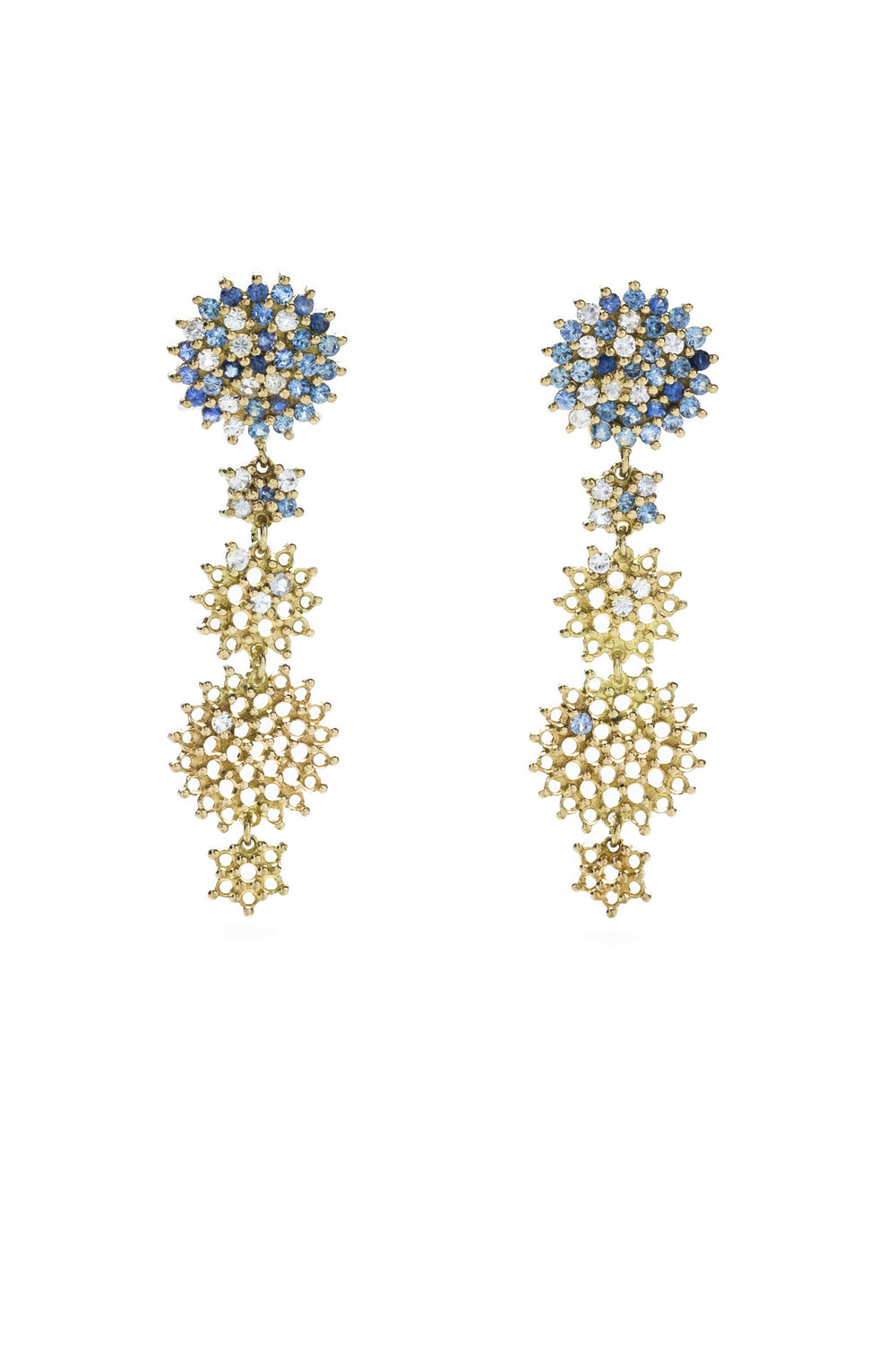 Multi coloured sapphire star chandelier earrings