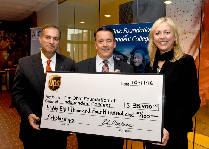 L to R: Todd Clossin, President & CEO WesBanco, OFIC Board Chair, Bill Spiker, OFIC President, Renee Roberts,  HR Manager, Great Lakes District , United Parcel Service.