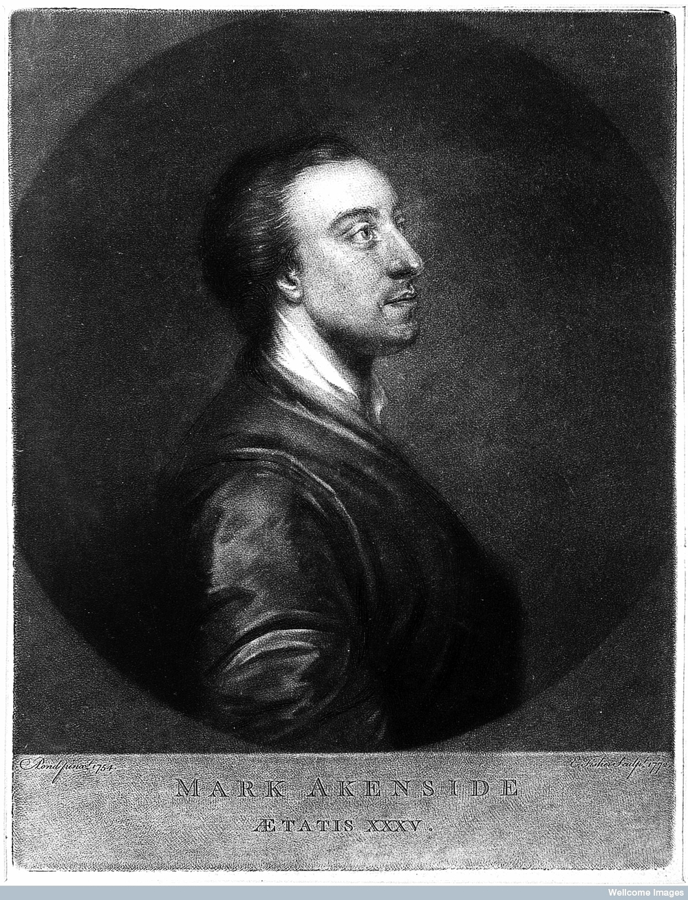 Mark Akenside, Engraved by Fisher (after Pond).  Original at  Wellcome Images  (Creative Commons).