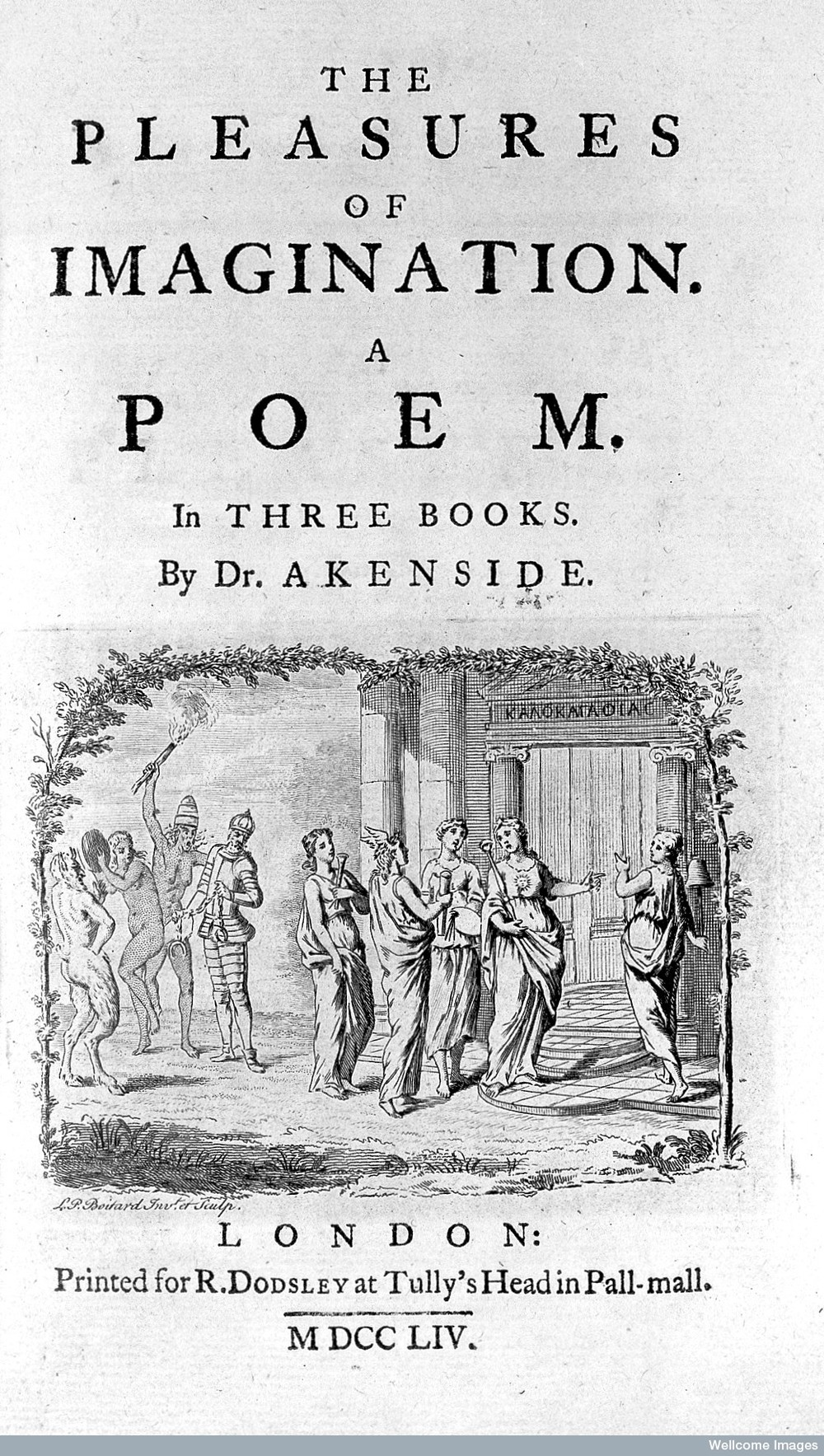 Title Page of The Pleasures of the Imagination, printed by Robert Dodsley, Akenside's publisher.  Original at Wellcome Images (Creative Commons).