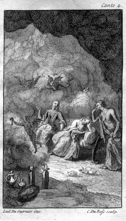 "Claude Du Bosc (after Louis Du Guernier, ""The Cave of Spleen,"" in Pope, The Rape of the Lock (1714)."