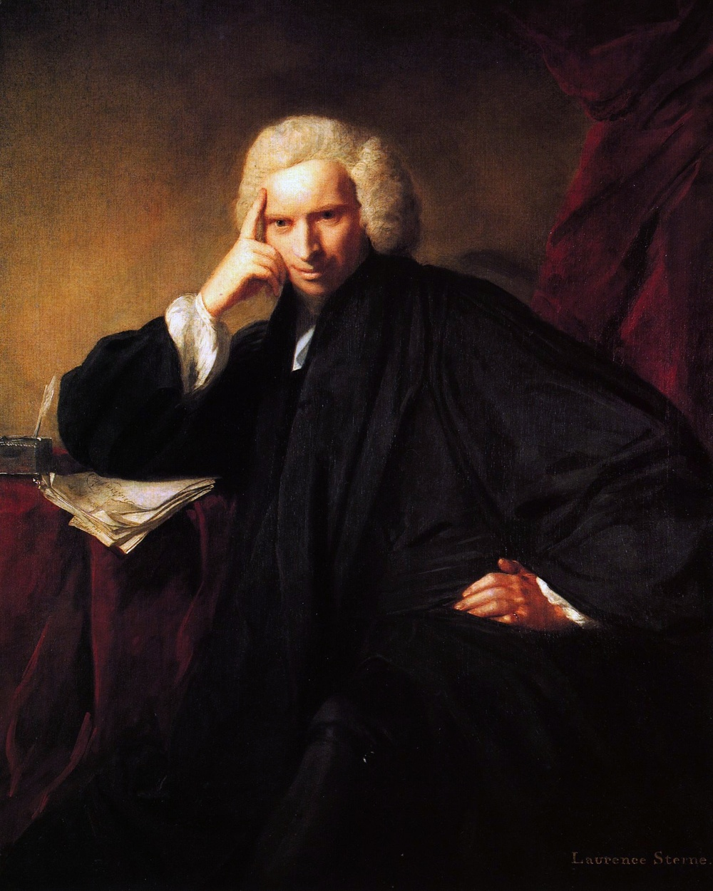 Laurence Sterne, by Joshua Reynolds.  Original at the National Portrait Gallery, London (NPG 5019).  We usually assume that under Sterne's elbow is the finished manuscript of the first two volumes of his Tristram Shandy-- but, as it is a book that famously struggled to get started, it might just as well be that we are capturing him, here, having just conceived it.