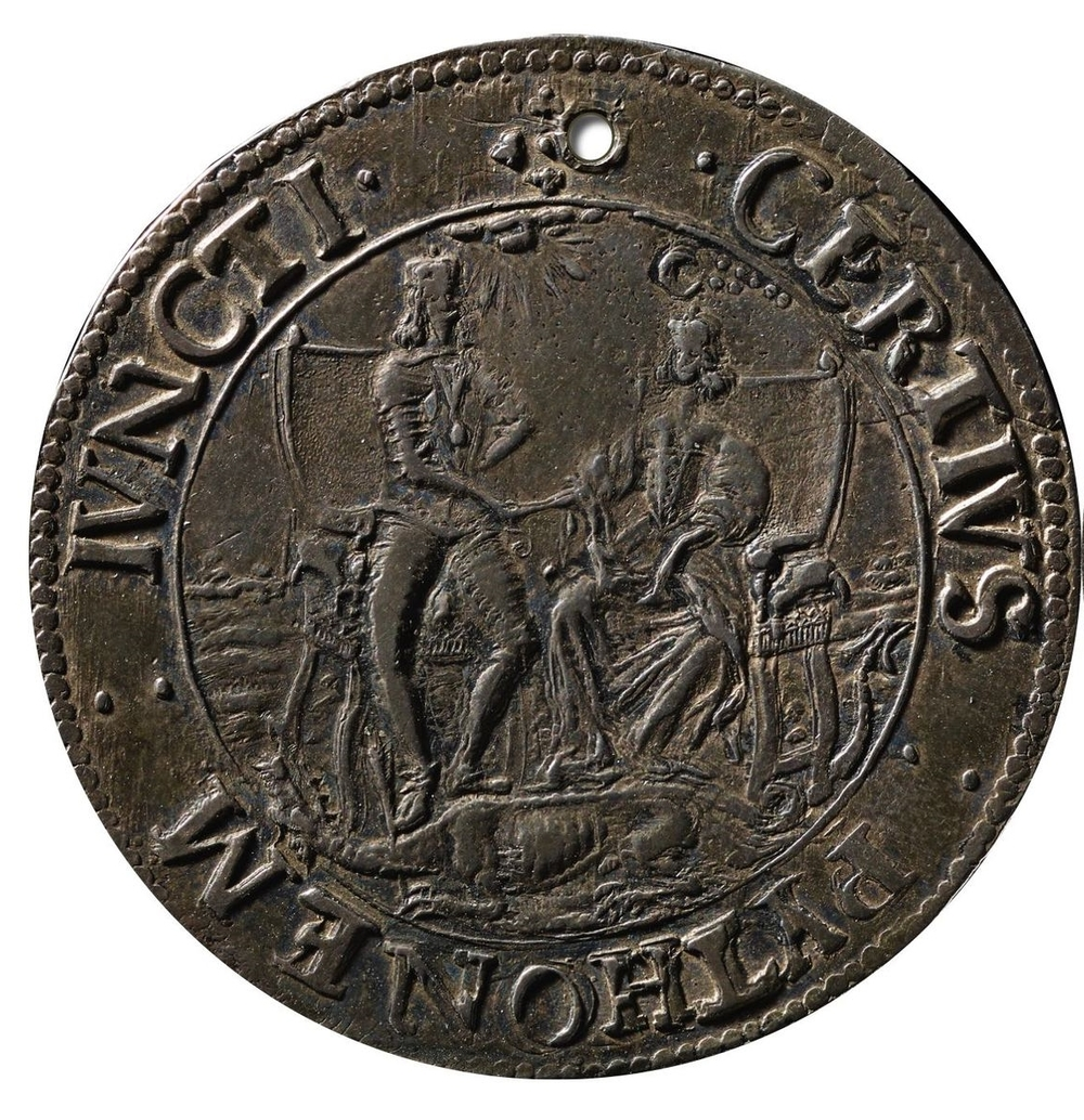 "Thomas Rawlins, Kineton Valley Medal, 1643.  Material: Silver; Size: 1.5"" diameter; Weight: 184 grains.  © Birmingham Museums Trust, AN 1885N1531."