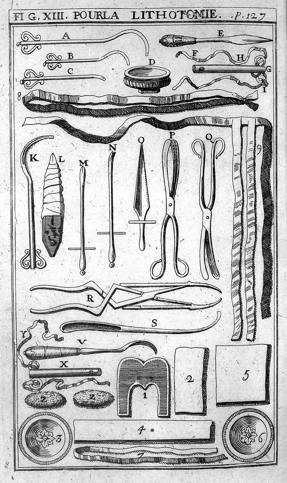 Lithotomy instruments, from Pierre Dionis,  Cours d'operations de chirurgie  (Brussels, 1708).  Image courtesy Wellcome Trust, L0017240.
