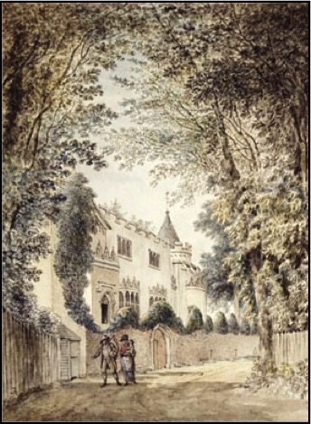 Strawberry Hill, as seen from the lane that fronts it. The Beauclerc tower is the conical roof nestled behind battlements.  Drawing by Edward Edwards.   Image used with kind permission of The Lewis Walpole Library, Yale University.