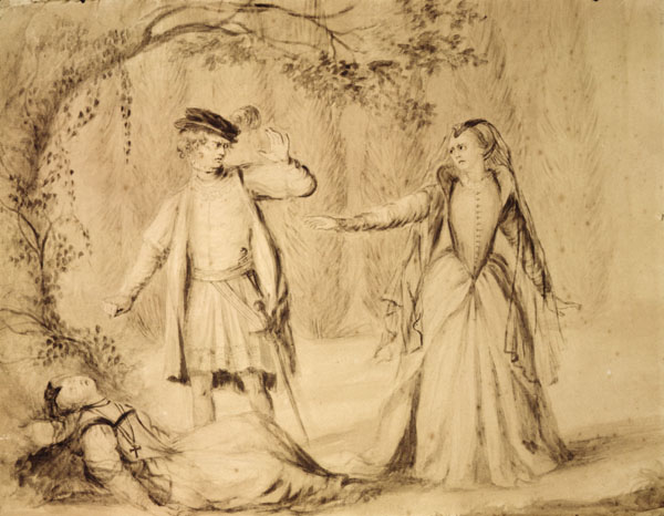 Lady Diana Beauclerc's untitled drawing of the penultimate scene in  The Mysterious Mother .  Original at the  Lewis Walpole Library, Yale University .