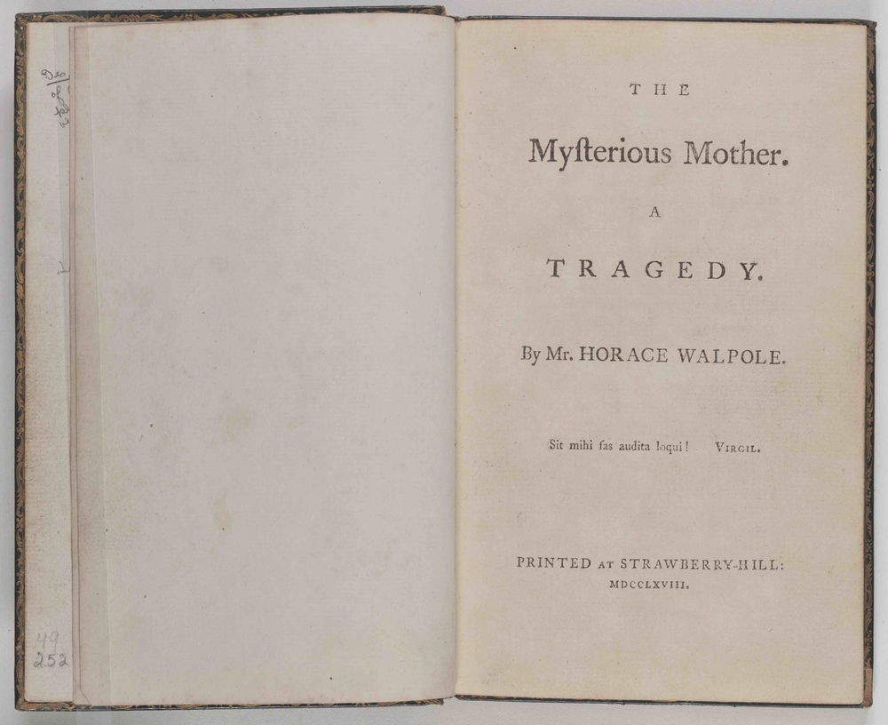 The Mysterious Mother , Walpole's personal copy of this scarce play.  A manuscript note on the paste-down (just visible behind the left-hand page) indicates that this copy was specially prepared to be kept in the Beauclerc Closet.  Image courtesy of The Lewis Walpole Library, Yale University.
