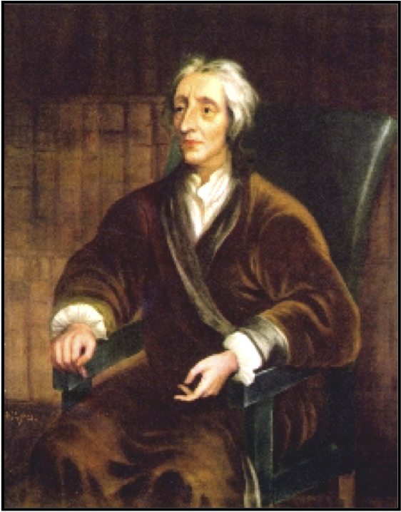 John Locke, seated in his (?) library.  Portrait by Sir Godfrey Kneller (1697), Christ Church, Oxford. Photo by Curator.