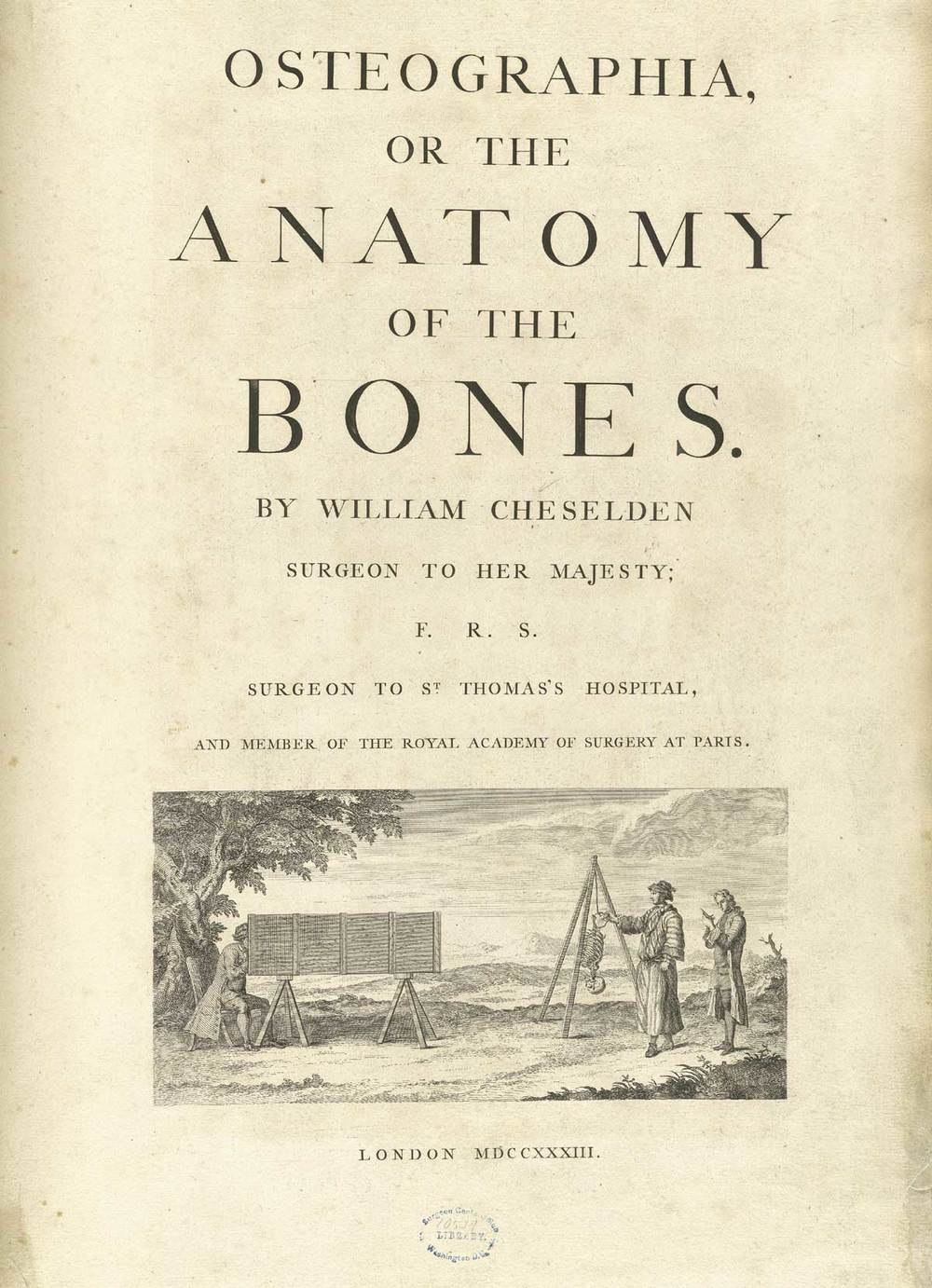 Cheselden,  Osteographia  (1728), Title Page.  Image from  National Library of Medicine.